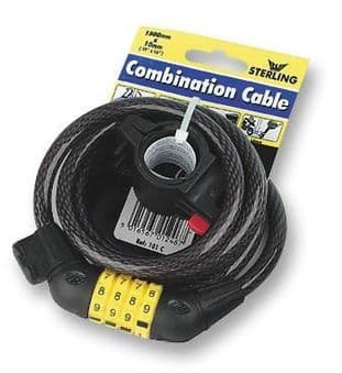10mm x 1.5m Combination Self Coiling Cable Bike Lock Black - STERLING SECURITY PRODUCTS 101C